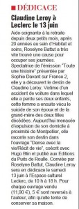 Article de journal Carcassonne le 13 juin 2015
